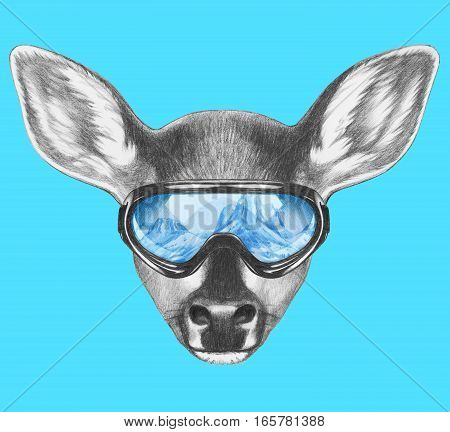 Portrait of Fawn with ski goggles. Hand drawn illustration.