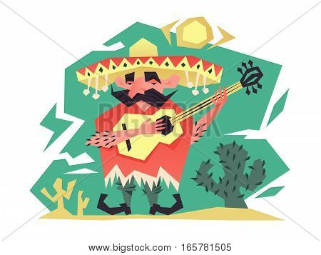 Cartoon mexican man in hat playing on guitar. Vector illustration