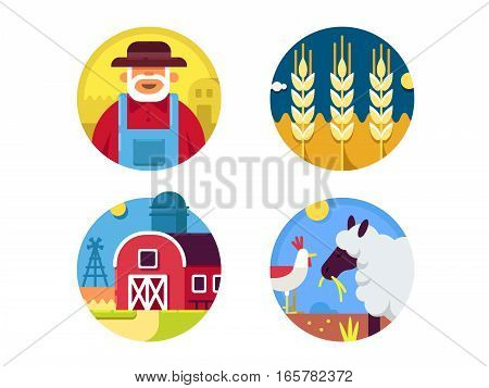 Farming set icons. Farmer cattleman and agriculturists. Pixel perfect icons size -128 px. Vector illustration