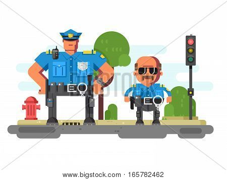 Police companions characters. Law enforcement officers in city. Vector illustration