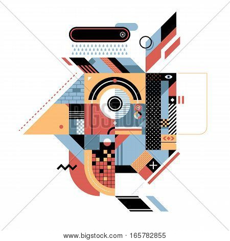 Geometric illustration with rooster's head. Style of abstract art constructivism and modern graffiti. Useful for prints and covers design element is isolated on white background.