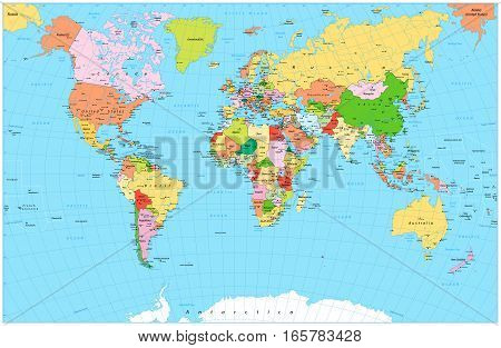 Large detailed political World Map with water objects. Vector illustration.