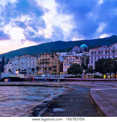 Town Of Opatija Waterfront At Sunset
