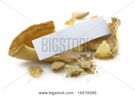 Opened fortune cookie with blank message - insert your own