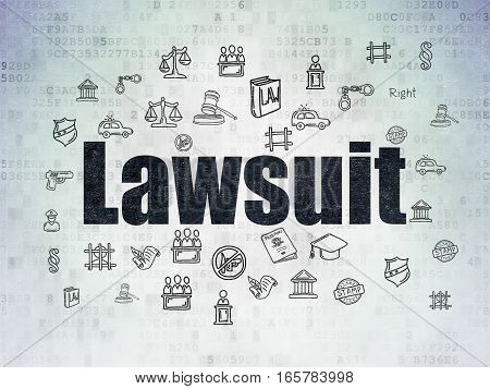 Law concept: Painted black text Lawsuit on Digital Data Paper background with  Hand Drawn Law Icons