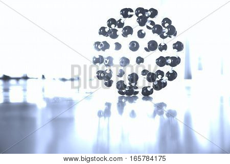 fullerene c60 molecule structure nano science laboratory research monochrome background