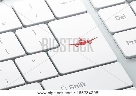 Tourism concept: Enter button with Aircraft on computer keyboard background, 3D rendering