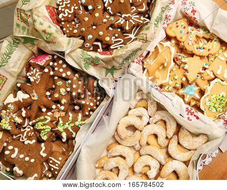 Christmas cookies collection. Gingerbread and crunchy decorated cookies
