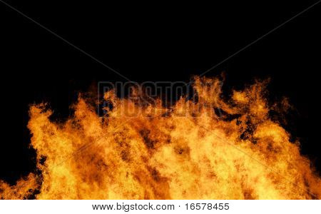 Massive wall of fire and flames on a black background (Huge XXL file)