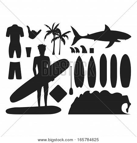 Set of vintage surfing silhouette graphics emblems vector flat design. Beach style design seal elements and summer sea symbols. Boarding on waves. Vector hipster insignia.
