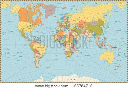 Large detailed vintage color political World Map. Highly detailed vector illustration of World Map.