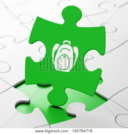 Vacation concept: Backpack on Green puzzle pieces background, 3D rendering