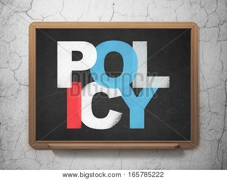 Insurance concept: Painted multicolor text Policy on School board background, 3D Rendering