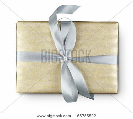 Gift box top view, isolated on white background. Modern present for any holiday, christmas, valentine or birthday