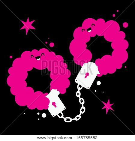 Handdrawn Illustration With Cute Handcuffs With Pink Fur On Black Background. Useful For Sex Shop Ad