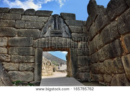 Mycenae, Greece - Sept 23, 2016: The Lion Gate. The archaeological sites of Mycenae and Tiryns have been inscribed upon the World Heritage List of UNESCO