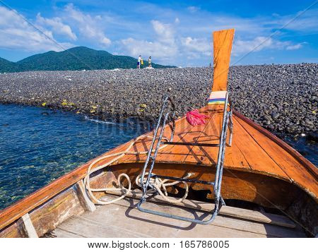 Traditional Long Tail Travel Boats On Tropical Beach