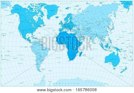 Large detailed World Map and continents in colors of blue. Highly detailed vector illustration of World Map.