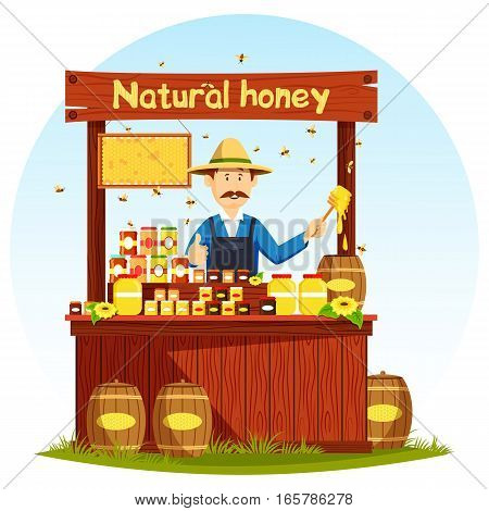 Sweet honey food market stall or counter, showcase. Rural apiary healthy nutrition, agronom at shop or store for retail or selling beehive products. Beekeeping and natural, countryside theme