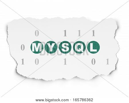 Database concept: Painted green text MySQL on Torn Paper background with  Binary Code