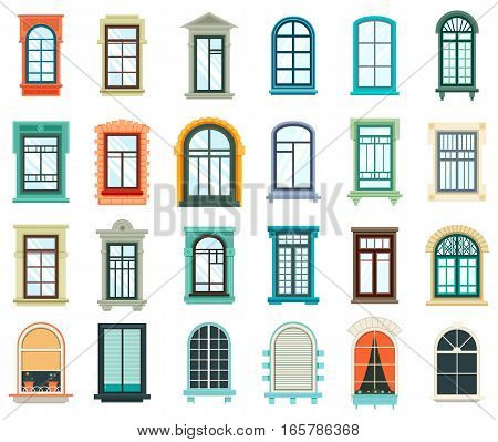 Retro wood or wooden window frames view isolated on house wall. Detailed plastic window with curtains or pot isolated. Architecture design outdoor or exterior view, building and home theme
