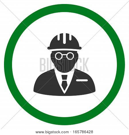 Blind Engineer vector bicolor rounded icon. Image style is a flat icon symbol inside a circle, green and gray colors, white background.