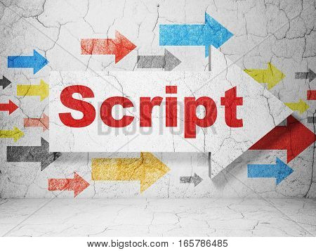 Database concept:  arrow with Script on grunge textured concrete wall background, 3D rendering