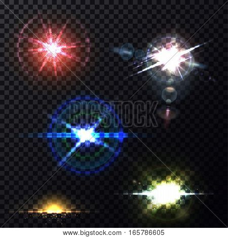 Light effects of glowing sun background or light effects through camera lens transparent backdrop. Set of isolated round shape splash or burst, zenith and horizon sunbeam. Bleak, star flash, explosion