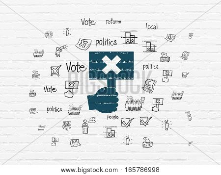 Political concept: Painted blue Protest icon on White Brick wall background with  Hand Drawn Politics Icons