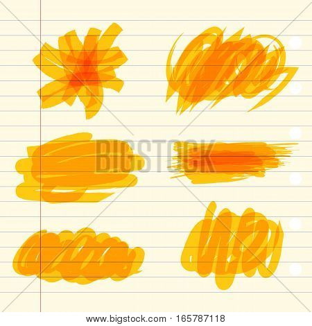 Colored markings of a highlighter pen. Yellow marker scribbles. Vector illustration. On a sheet of exercise book