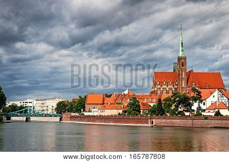 wroclaw cathedral old polish city. Eastern Europe