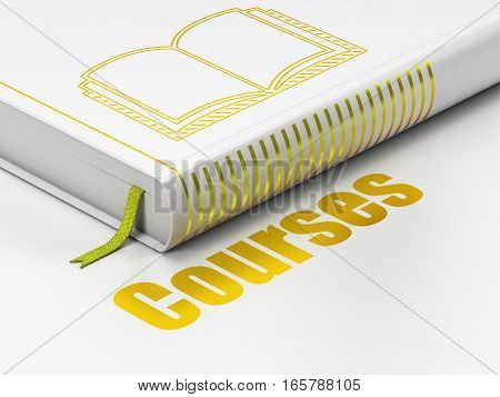 Studying concept: closed book with Gold Book icon and text Courses on floor, white background, 3D rendering