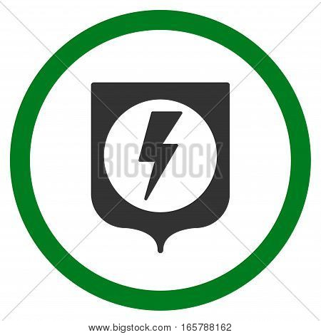 Electric Protection vector bicolor rounded icon. Image style is a flat icon symbol inside a circle, green and gray colors, white background.