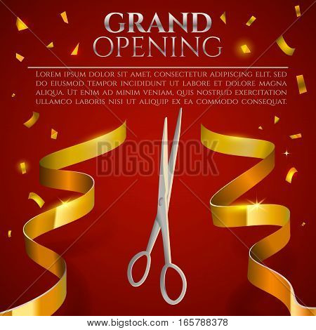 Grand opening invitation card. Ribbon cutting ceremony banner.