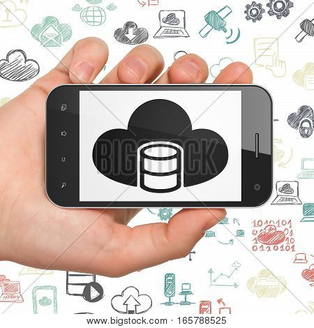 Cloud technology concept: Hand Holding Smartphone with  black Database With Cloud icon on display,  Hand Drawn Cloud Technology Icons background, 3D rendering