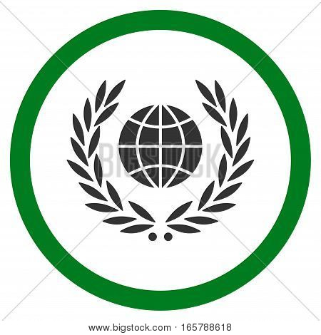 Global Emblem vector bicolor rounded icon. Image style is a flat icon symbol inside a circle, green and gray colors, white background.