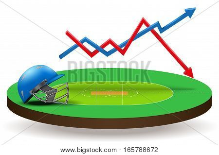 Background concept statistics about the game of cricket. In three-dimensional space. Vector illustration Isolated on white background.