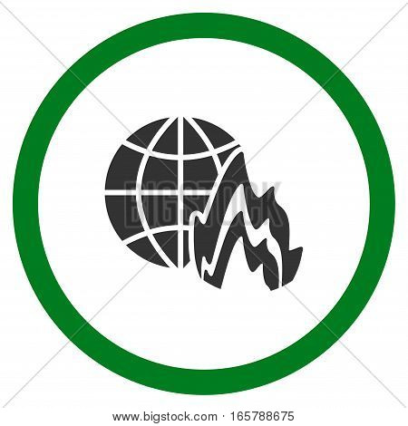 Global Fire vector bicolor rounded icon. Image style is a flat icon symbol inside a circle, green and gray colors, white background.
