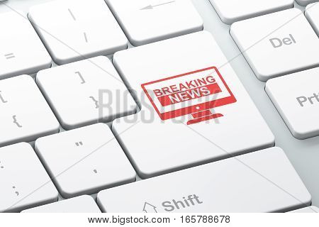 News concept: Enter button with Breaking News On Screen on computer keyboard background, 3D rendering