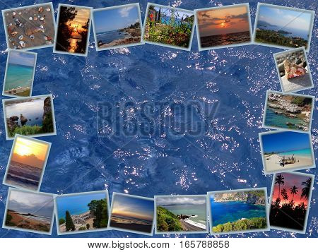 frame of the panoramic photos of the sea on blue water background