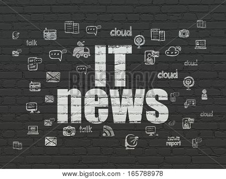 News concept: Painted white text IT News on Black Brick wall background with  Hand Drawn News Icons