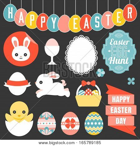 easter ornament, headline, and icon, flat design