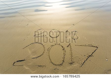 Numbers 2017 On Beach Wave, Newyear Concept