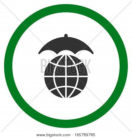 Global Umbrella vector bicolor rounded icon. Image style is a flat icon symbol inside a circle, green and gray colors, white background.
