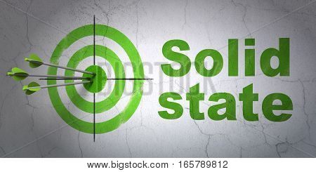 Success Science concept: arrows hitting the center of target, Green Solid State on wall background, 3D rendering