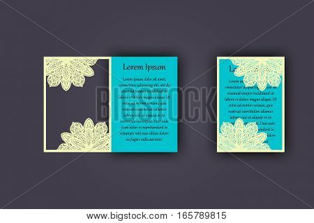Wedding Invitation Or Greeting Card With Vintage Lace Ornament. Mock-up For Laser Cutting. Vector Il