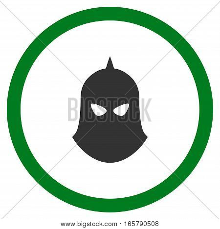 Knight Helmet vector bicolor rounded icon. Image style is a flat icon symbol inside a circle, green and gray colors, white background.