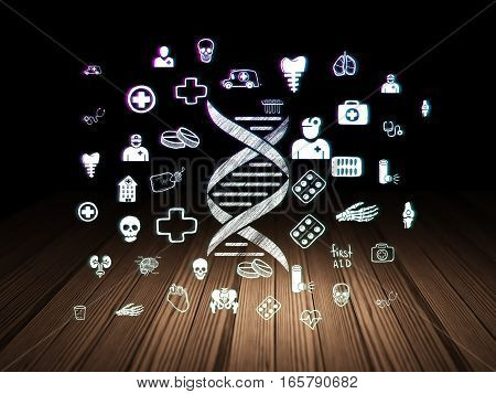 Health concept: Glowing DNA icon in grunge dark room with Wooden Floor, black background with  Hand Drawn Medicine Icons