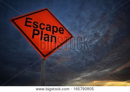 Orange Storm Road Sign Of Escape Plan