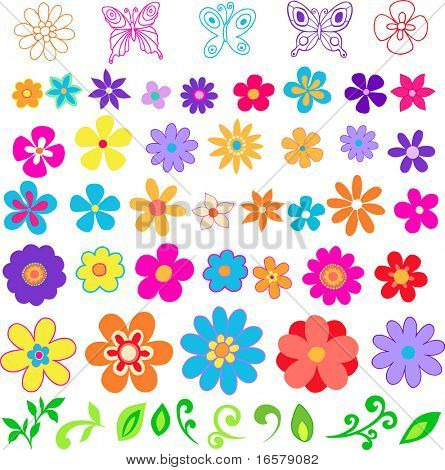 viele Blumen # 2-Vektor-illustration